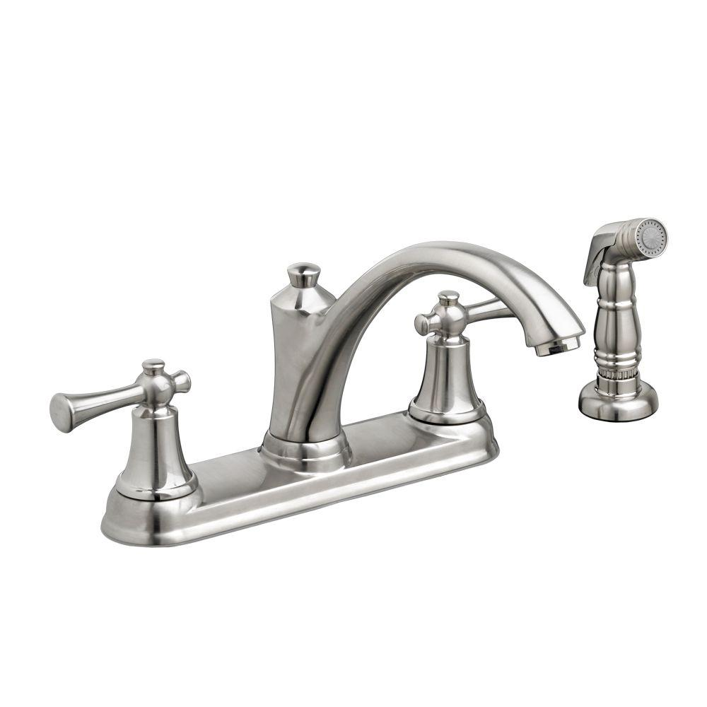 american standard kitchen faucet sinks for 30 inch base cabinet portsmouth 2 handle with side sprayer in stainless steel