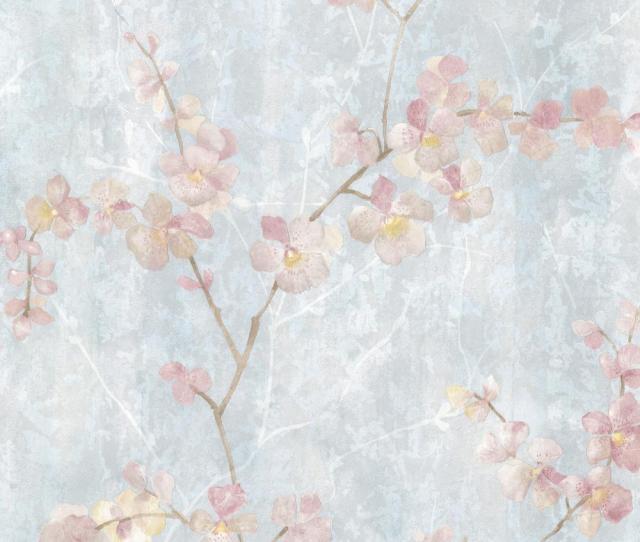 Chapman Blue Cherry Blossom Trail Wallpaper Sample
