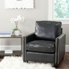 Black Leather Club Chair And Ottoman Shabby Chic Dining Table Chairs Safavieh Horace Antique Arm Mcr4736a The