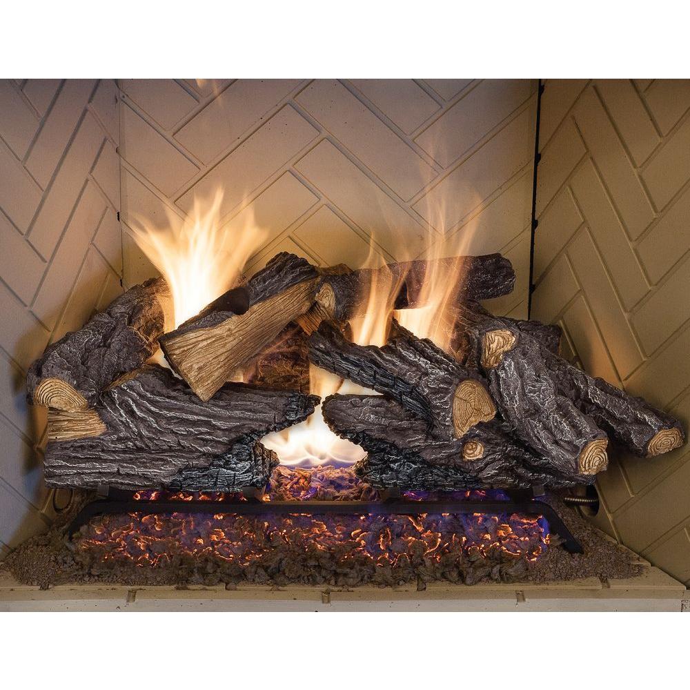 24 In Split Oak Vented Natural Gas Log Set Dual Burner Chimney Fireplace Fire 761644532400  eBay