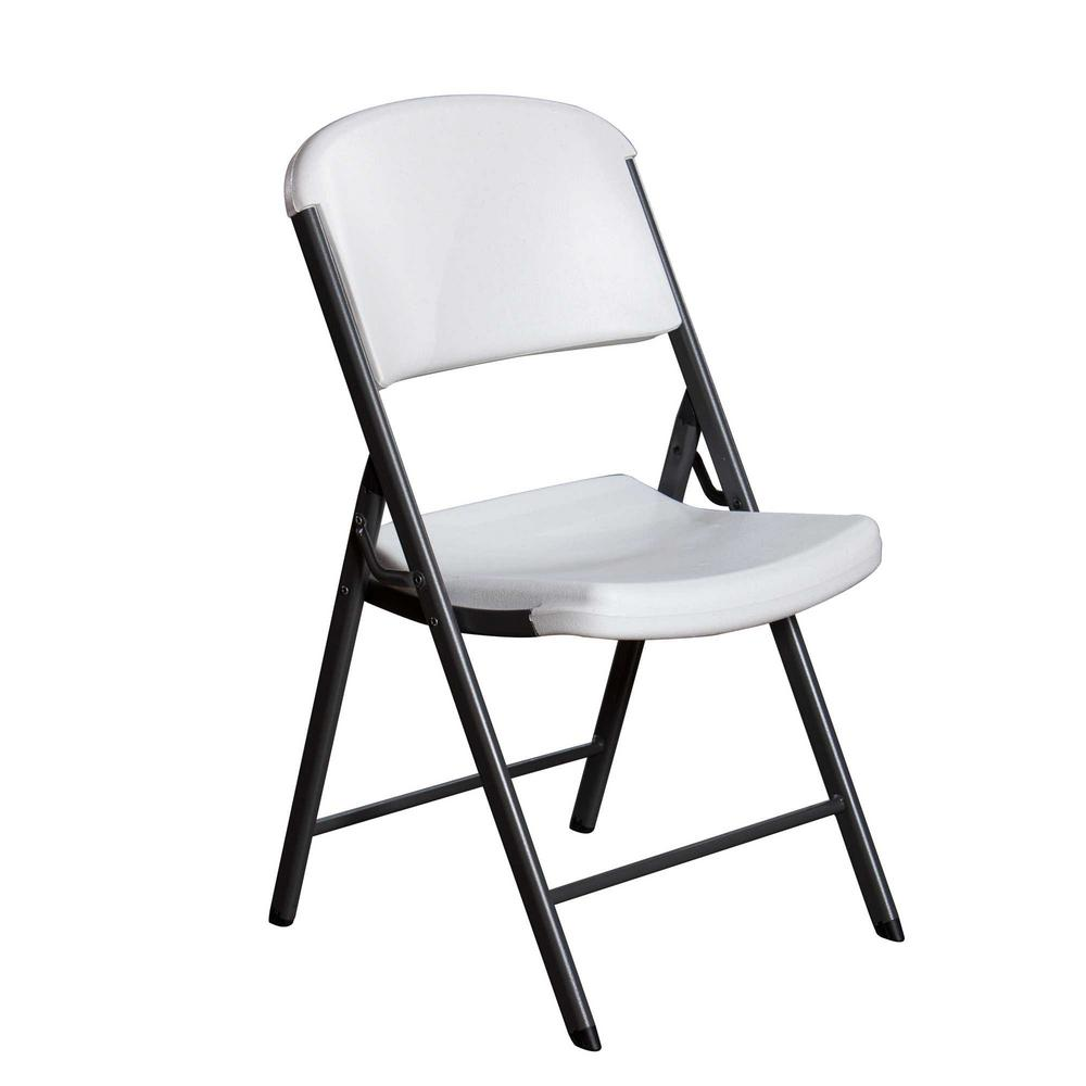 Lifetime Chair Lifetime White Plastic Seat Metal Frame Outdoor Safe Folding Chair