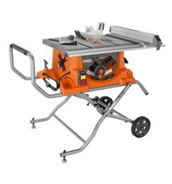 ridgid 15 amp corded 10 in heavy duty portable table saw with stand [ 1000 x 1000 Pixel ]