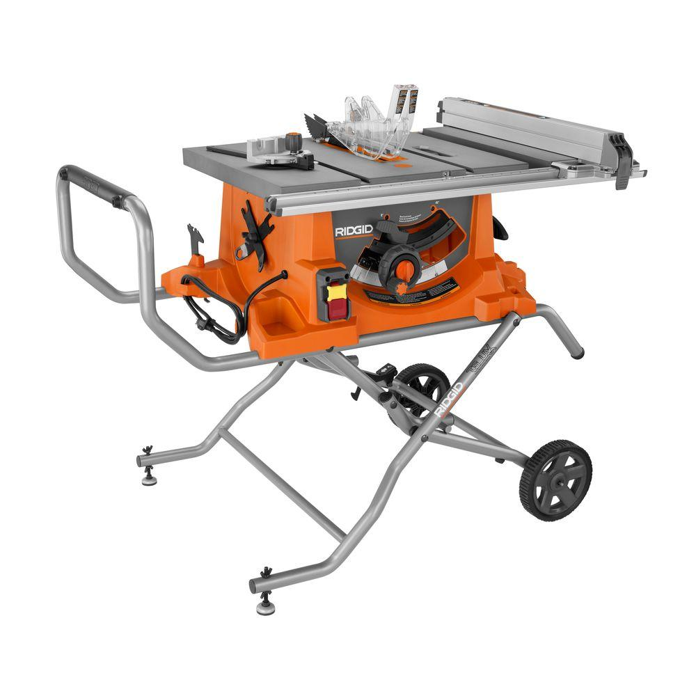 medium resolution of ridgid 15 amp corded 10 in heavy duty portable table saw with stand