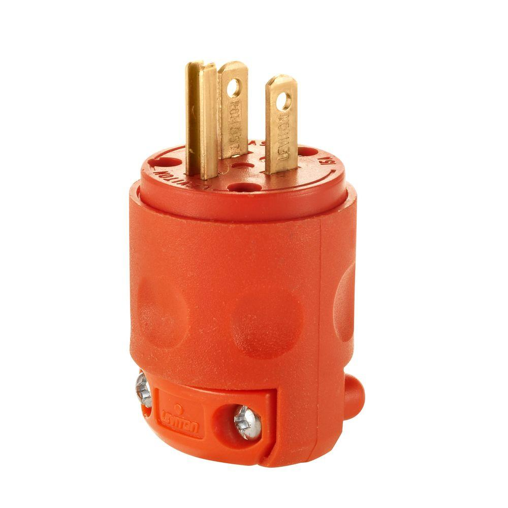 hight resolution of leviton 15 amp 125 volt 3 wire plug orange r51 515pv 0or the home how to wire a 3 wire plug end wiring 3 wire plug