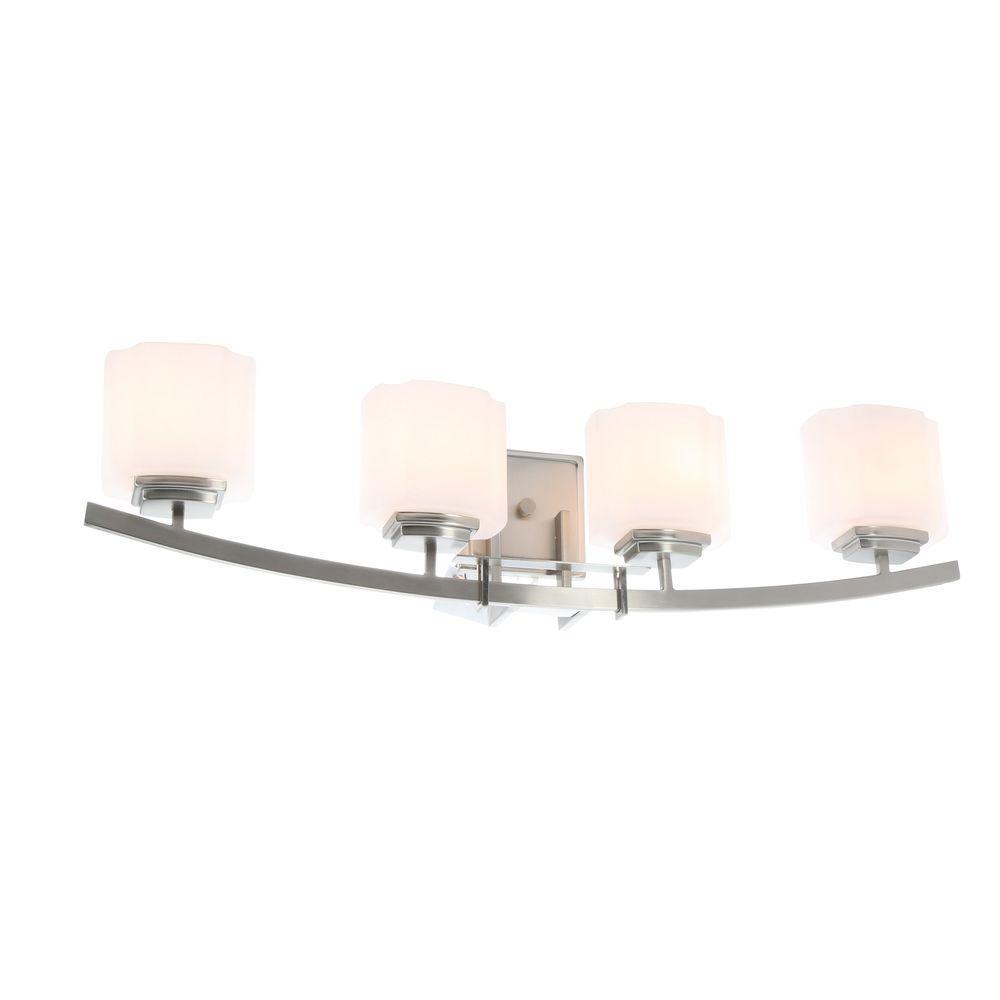 hampton bay architecture 4-light brushed nickel vanity light with