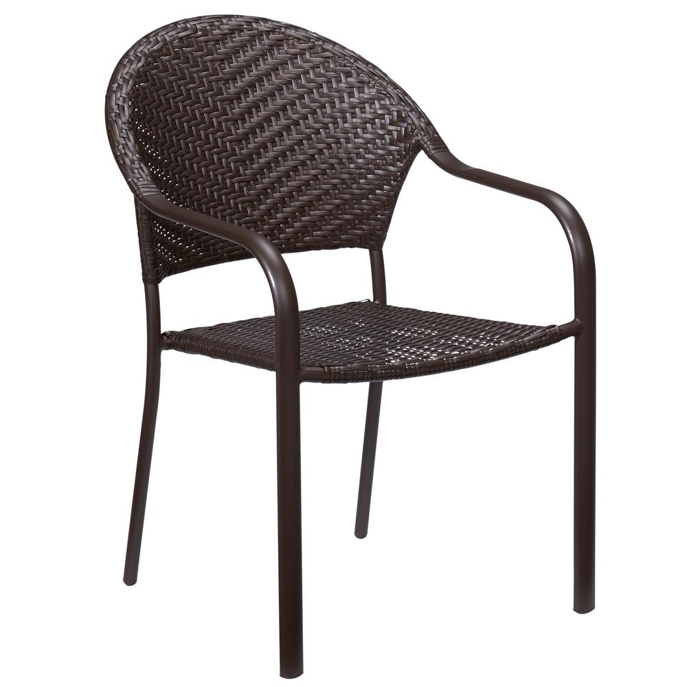 Wicker Outdoor Dining Chairs Hampton Bay Mix And Match Stackable Wicker Outdoor Dining Chair In Brown