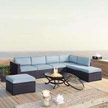 Biscayne 6-piece Wicker Outdoor Sectional Set With Mist