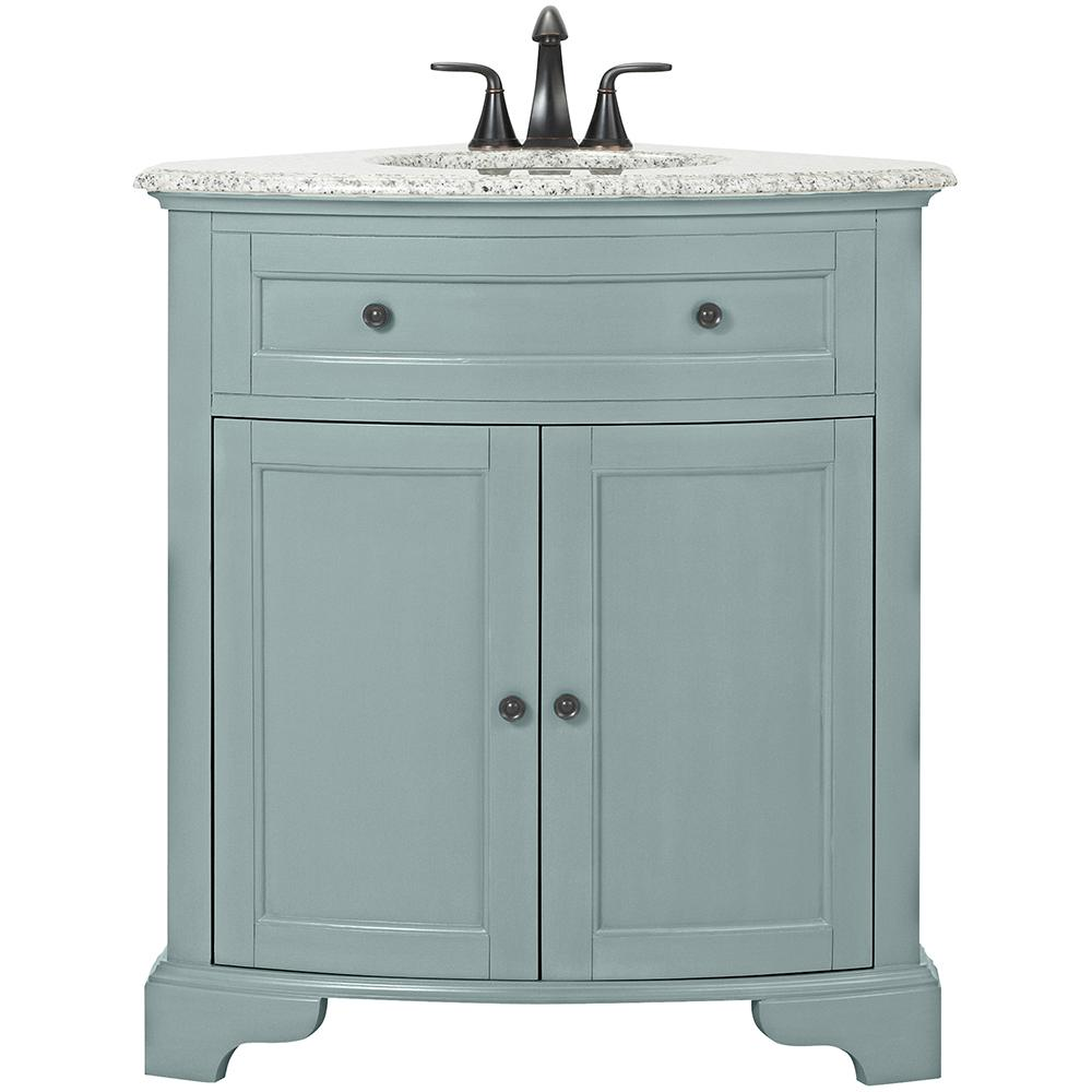 Home Decorators Collection Hamilton 31 In W Corner Bath Vanity In Sea Glass With Granite Vanity Top In Grey And White Sink 10809 Cs30h Sg The Home Depot