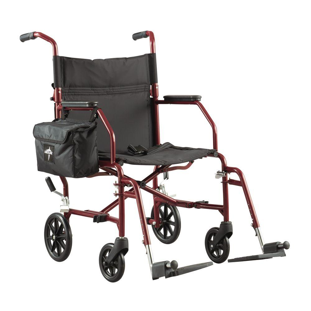 transport wheel chair chairs for kitchen table medline ultra light steel wheelchair in silver mds808200w