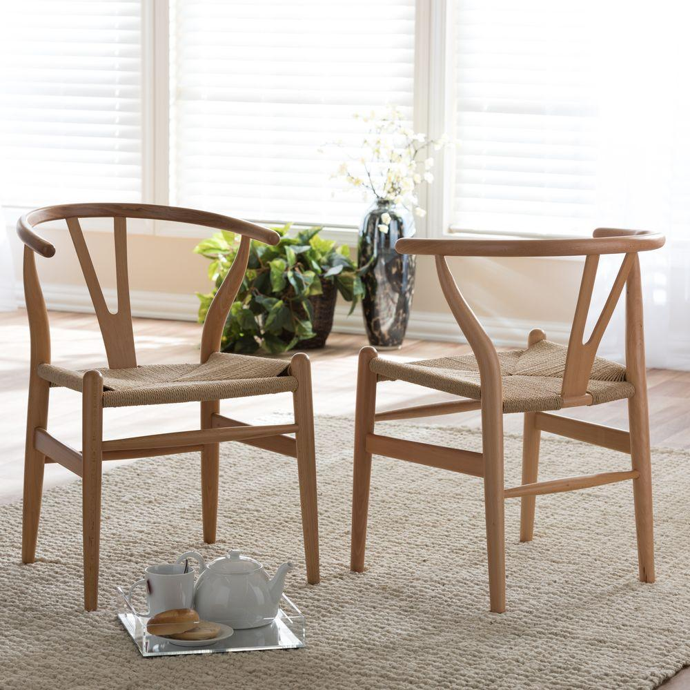kitchen chairs acrylic sinks brown dining room furniture the home depot wishbone mid century light finish wood chair set 2 piece