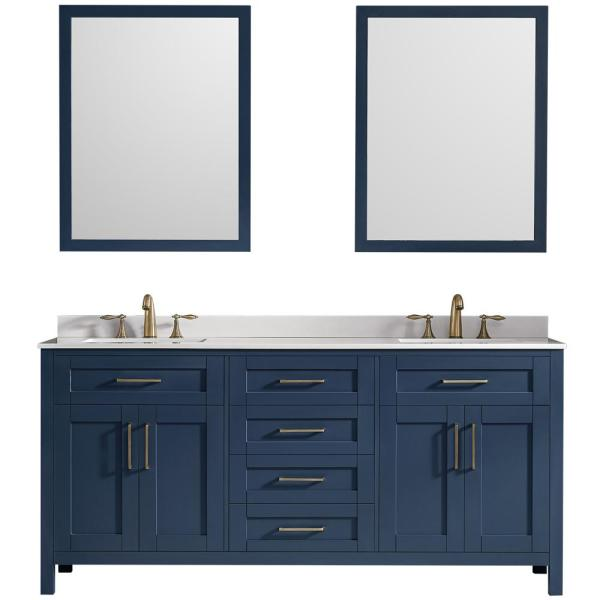 Ove Decors Tahoe 72 In W Bath Vanity In Midnight Blue With Cultured Marble Vanity Top In White With White Basins And Mirrors Kc Taho72 045ul The Home Depot