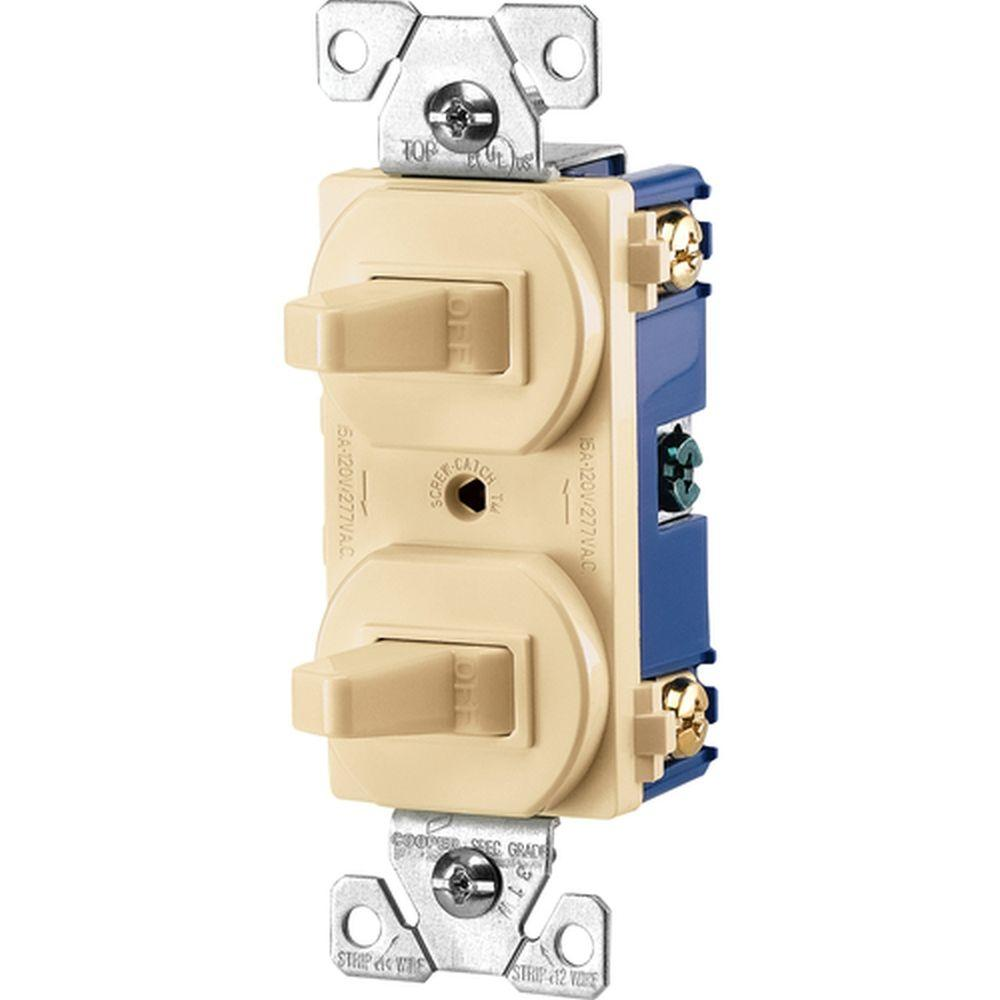 medium resolution of eaton commercial grade 15 amp combination single pole toggle switch cooper wiring 275vbox 3way ivory single pole duplex toggle switch