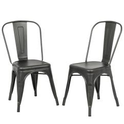 Rustic Metal Dining Chairs Cognac Leather Chair Carolina Forge Adeline Pewter Stacking Set Of 2