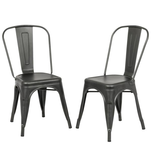 Carolina Forge Adeline Rustic Pewter Metal Stacking Dining Chair Set Of 2 Th 1002 Rpw The Home Depot