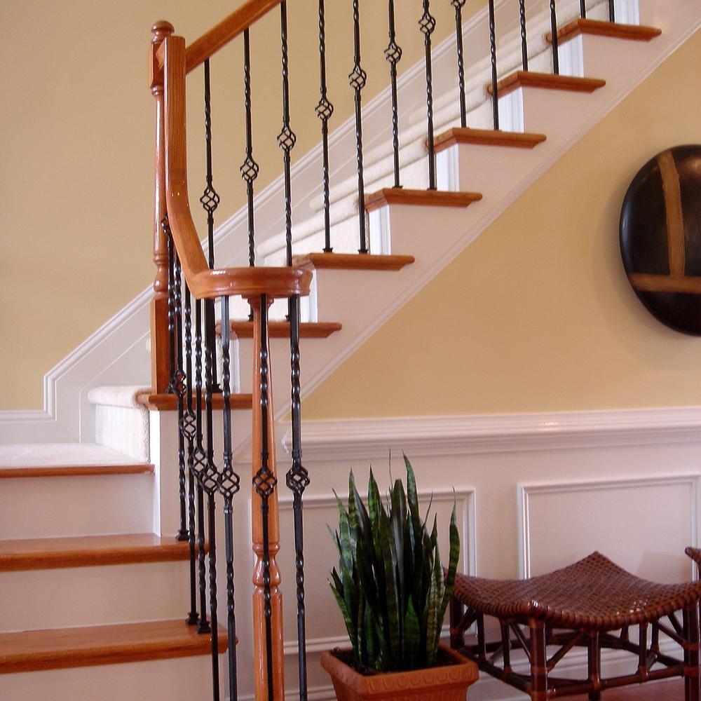 Stair Parts 44 In X 1 2 In Matte Black Single Basket Metal   Stair Rails And Spindles   Dark   Restaining   Modern   Spiral   Glass