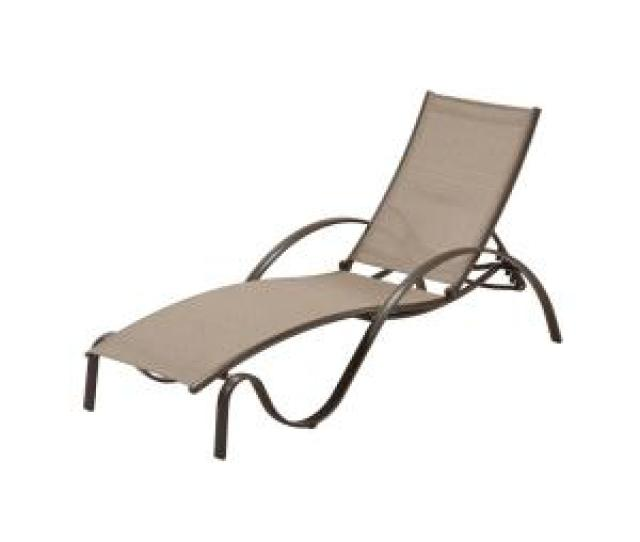 Hampton Bay Commercial Grade Aluminum Brown Outdoor Chaise Lounge In Sunbrella Elevation Stone Sling Flabm The Home Depot