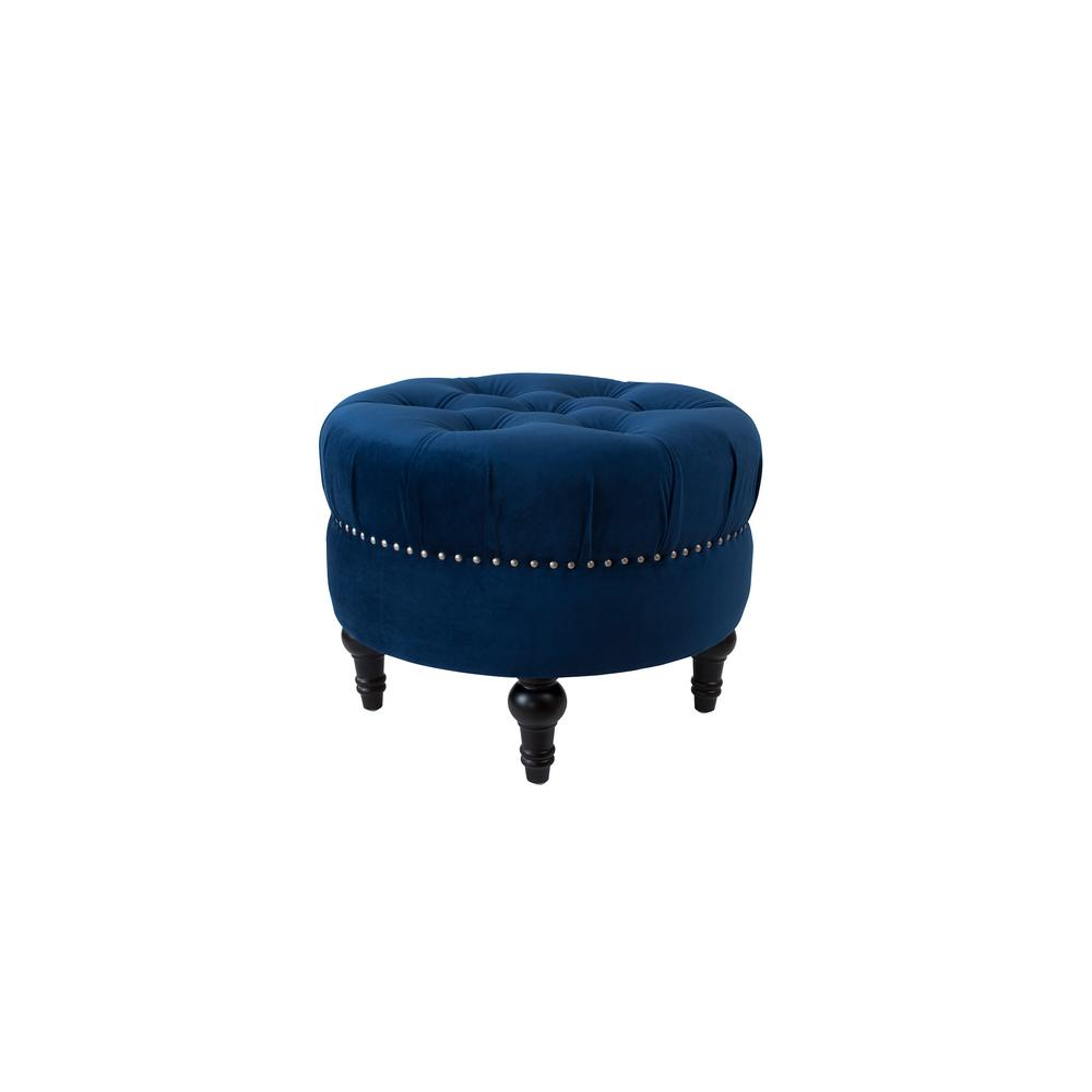jennifer taylor dawn navy blue tufted round ottoman 84190 859 the home depot