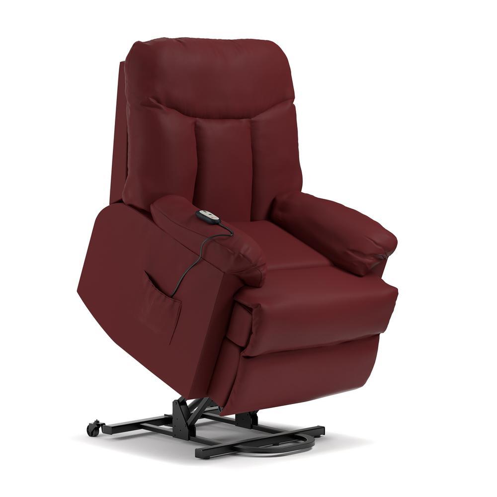 wall hugger recliner chair canvas sling prolounger burgundy red power lift reclining rcl9 dab49 the home depot