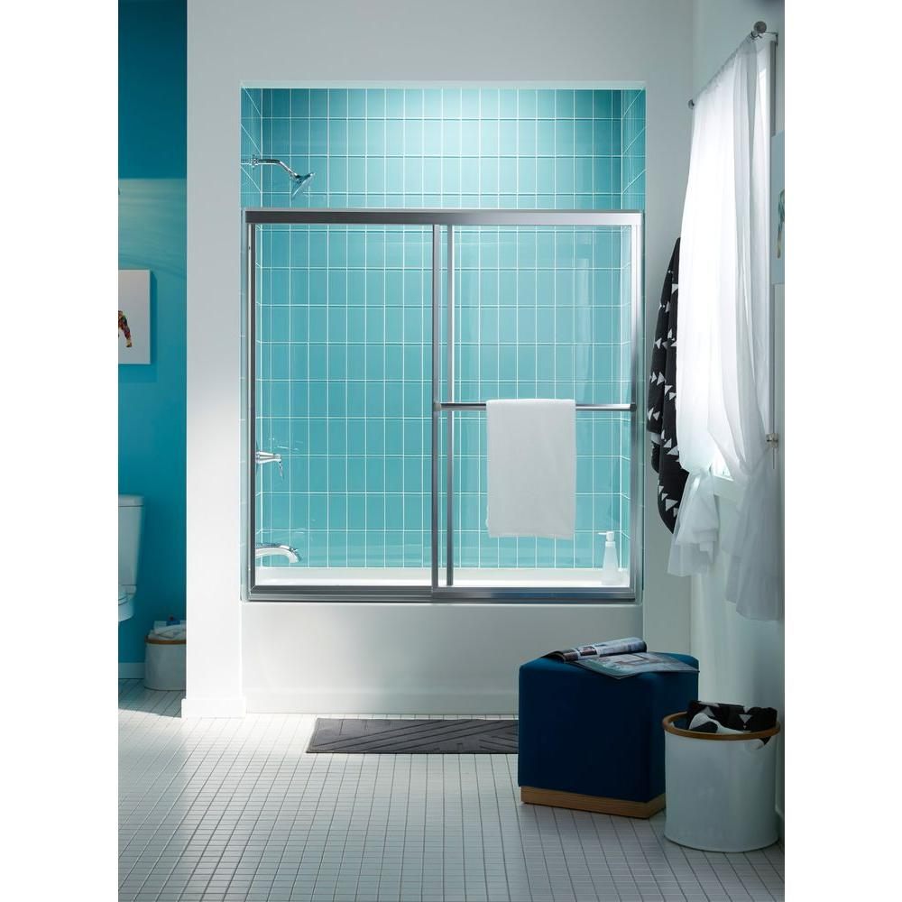 STERLING Prevail 5938 in x 5638 in Framed Sliding TubShower Door in Silver with Handle