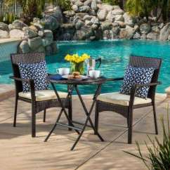 Bistro Chairs Outdoor Where To Buy Beach Sets Patio Dining Furniture The Home Depot Elba Brown 3 Piece Wicker Round Set With Cream Cushions