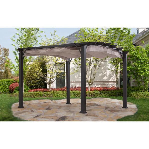 Sunjoy 10x10 Arched Pergola-110105020 - Home Depot