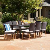 Noble House Multi-brown 9-piece Wicker Rectangular Outdoor