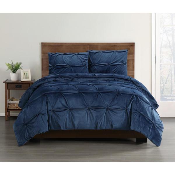 Soft Everyday Pleated Velvet Navy King Comforter Set