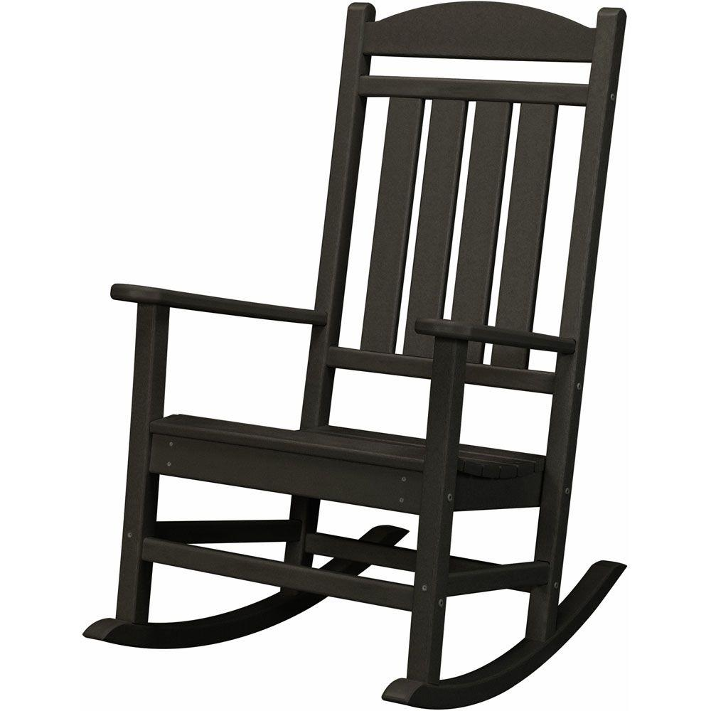 outdoor rocking chairs tall folding hanover black all weather pineapple cay patio porch rocker hvr100bl