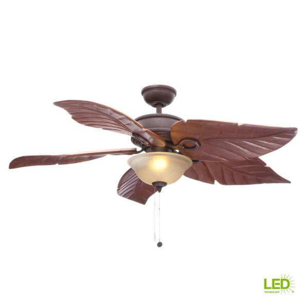 Hampton Bay Costa Mesa 56 In. Led Indoor Outdoor Mediterranean Bronze Ceiling Fan With Light Kit