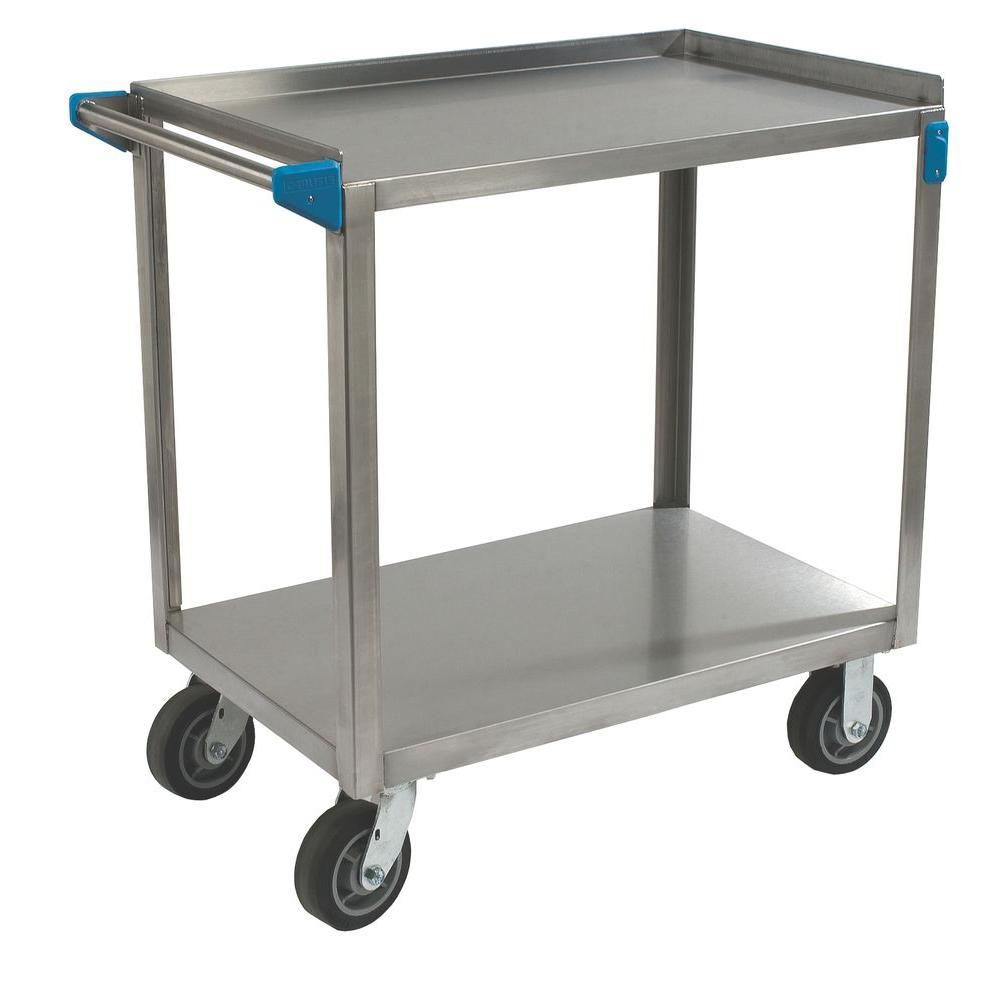 stainless kitchen cart wusthof shears carlisle 36 in h x 21 w 35 75 d steel 2 shelf