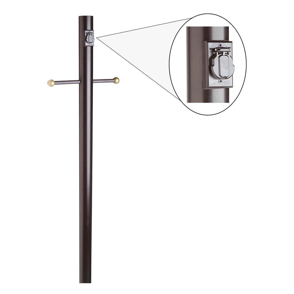 Design House Black Lamp Post with Cross Arm and Electrical
