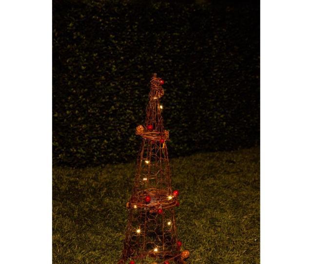 Christmas Rattan Light Up Cone Tree Decor