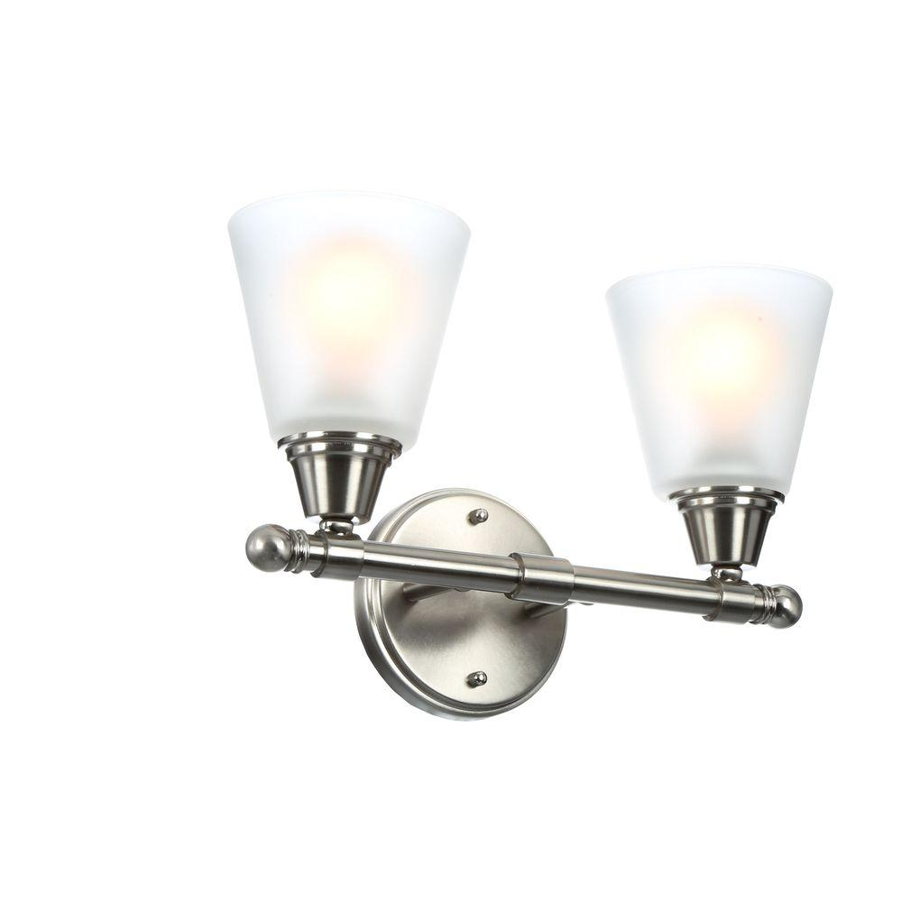 medium resolution of hampton bay 2 light brushed nickel vanity light with frosted white glass shades