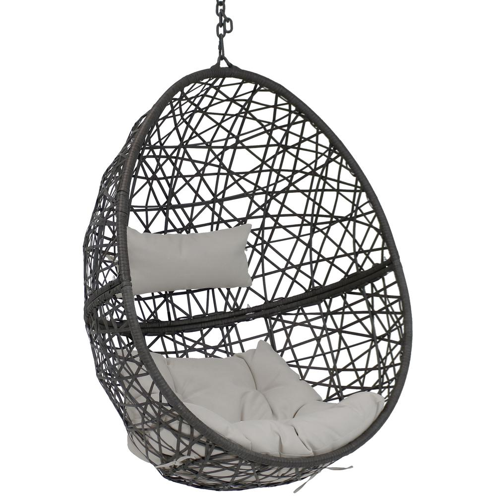 Hanging Egg Chair Outdoor Sunnydaze Decor Caroline Resin Wicker Hanging Egg Patio Lounge Chair With Gray Cushions