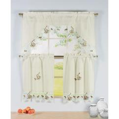 Curtains Kitchen Wooden Table Sets Window Elements Semi Opaque Coffee Talk Embroidered 3 Piece Curtain Tier And Valance Set