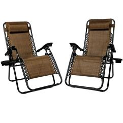 Beach Chairs Home Depot Office Chair For Sunnydaze Decor Zero Gravity Dark Brown Lawn With Pillow And Cup Holder 2 Set