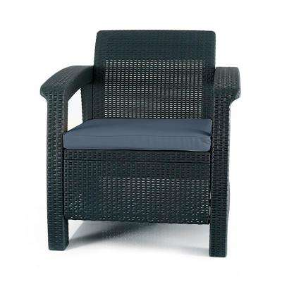 woven plastic garden chairs chair cover hire somerset patio furniture the home depot corfu charcoal all weather resin armchair with cushion