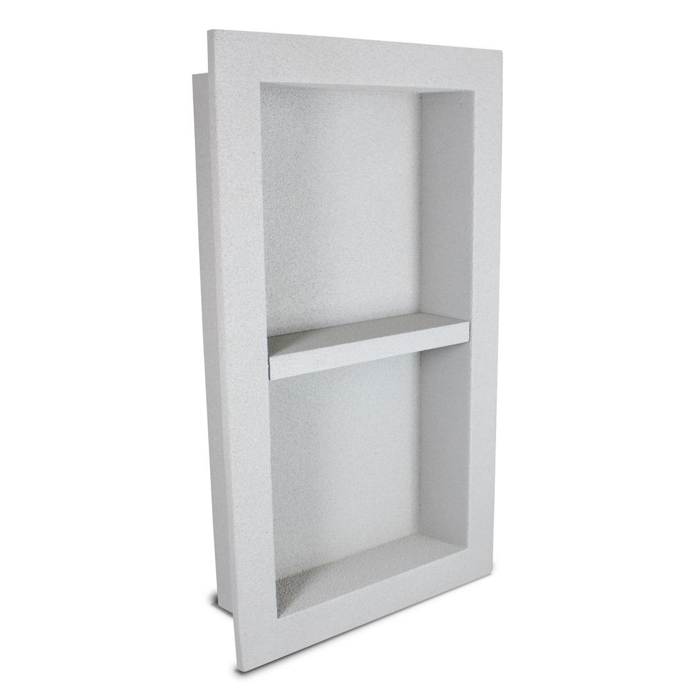 Polyniche 12 In X 16 In X 3 5 In Shower Niche With Modular Shelf In Gray Nchs1216 The Home Depot