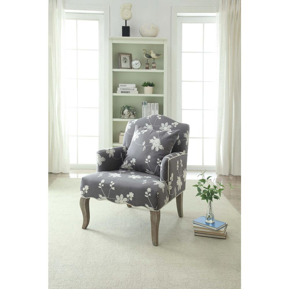 floral arm chair office images linon home decor gray polyester 368312gry01u the