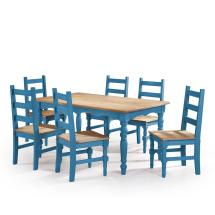 Manhattan Comfort Jay 7-piece Blue Wash Solid Wood Dining