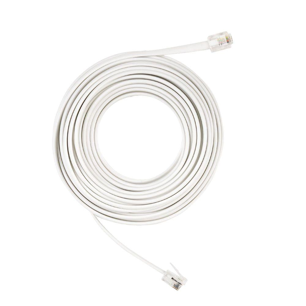 Commercial Electric 25 ft. Corded Phone Line, White-25 FT