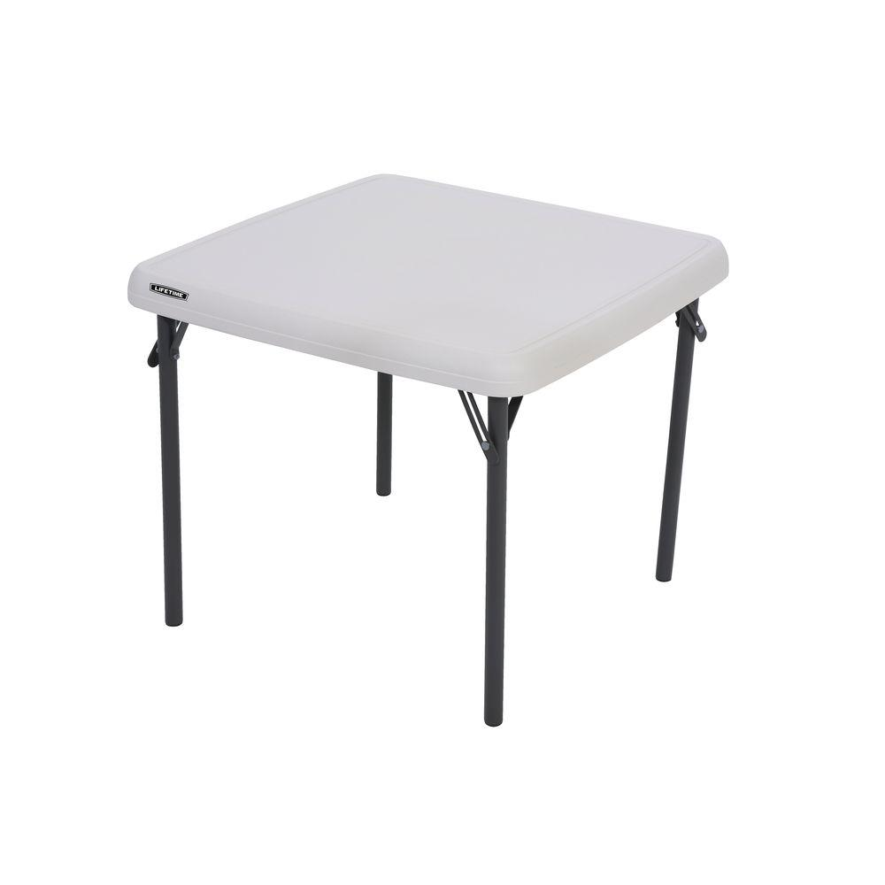 Childrens Folding Table And Chairs Lifetime Children S 24 In W Square Almond Folding Table