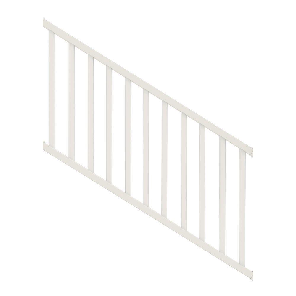 Veranda Select 3 Ft White Vinyl Stair Rail Kit With Square   Vinyl Railing For Steps   Aluminum   Veranda   Hand   Square   Traditional