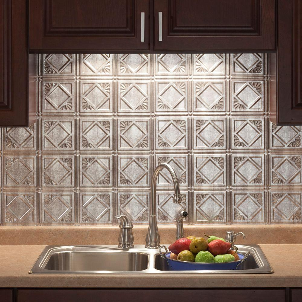 kitchen backsplash rolls kraus faucets fasade 18 in x 24 traditional 4 pvc decorative panel crosshatch