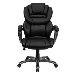 Black Leather Office Chair High Back Kitchen Chairs Set Of 4 Flash Furniture Executive Swivel With Padded Loop Arms Go901bk The Home Depot