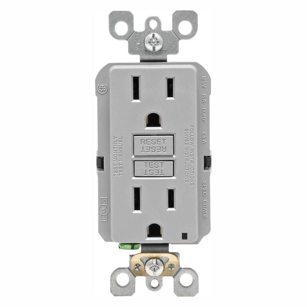 hight resolution of leviton 15 amp self test smartlockpro slim duplex gfci outlet gray leviton gfci receptacle wiring leviton gfci wiring