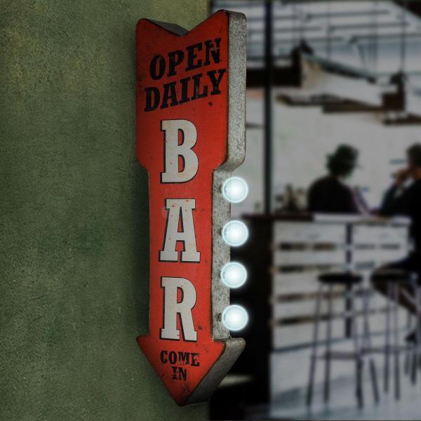 Crystal Art Open Daily Bar Metal Arrow Vintage