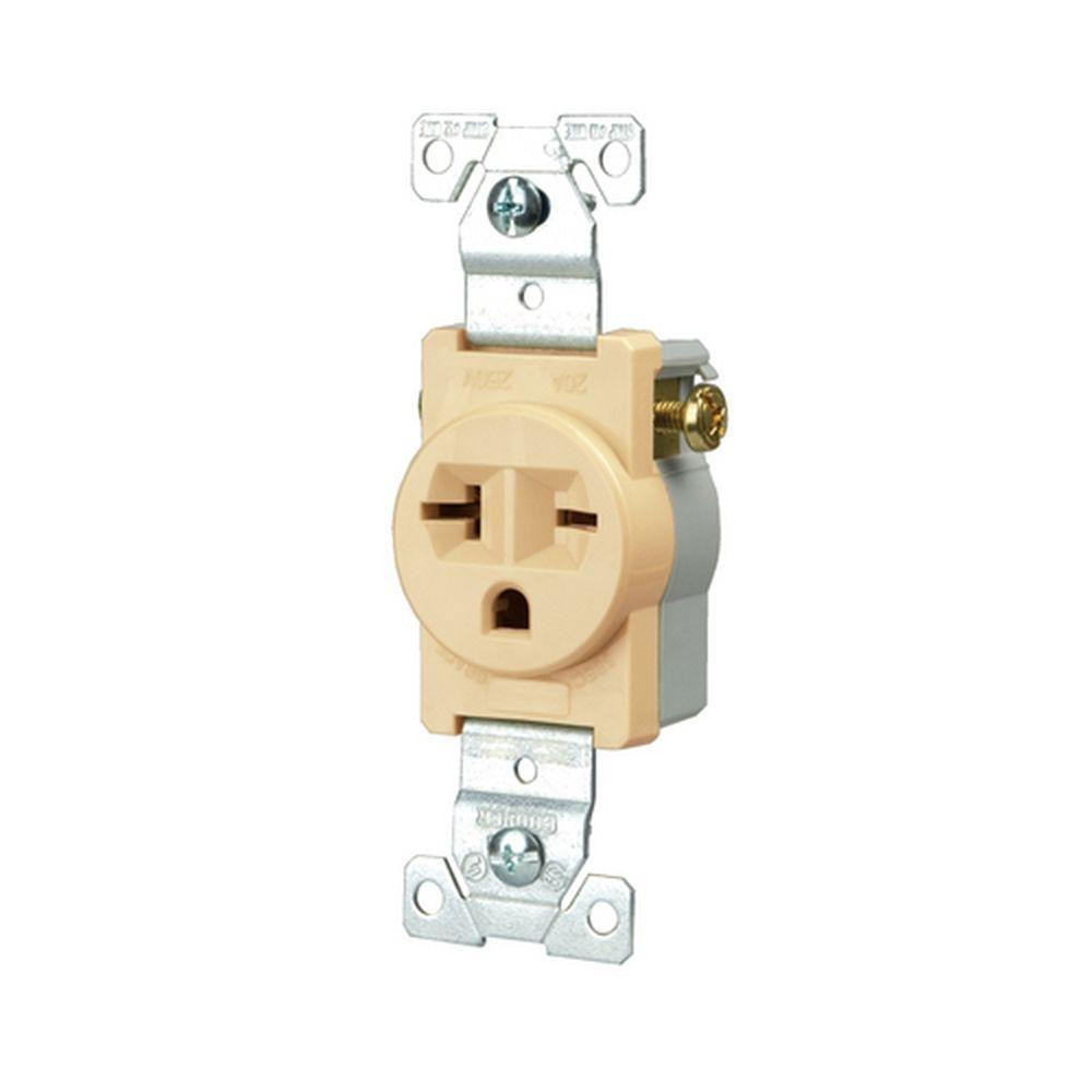 hight resolution of eaton commercial grade 20 amp straight blade single receptacle with side wiring ivory