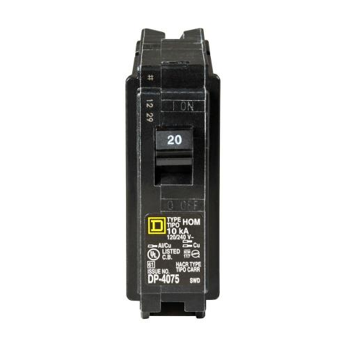 small resolution of square d homeline 20 amp single pole circuit breaker