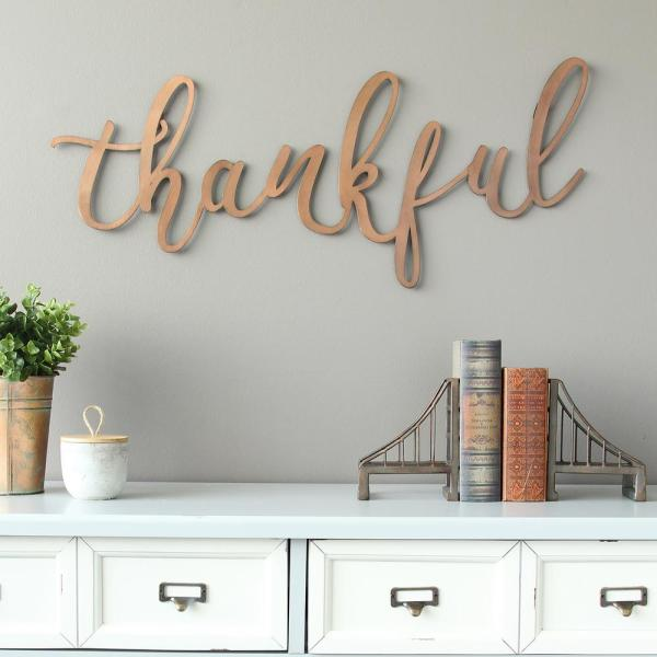 "Stratton Home Decor Bronze ""thankful"" Script Decorative"